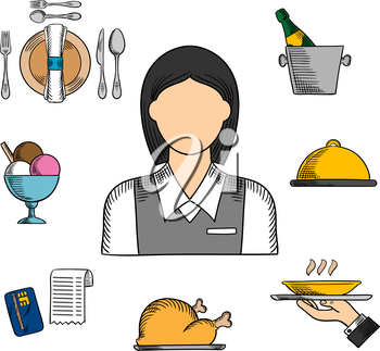 Waiter profession sketched  icons with waitress in uniform surrounded by dinner, champagne and ice bucket, ice cream sundae, fried chicken, cloche and restaurant bill. Vector sketch illustration