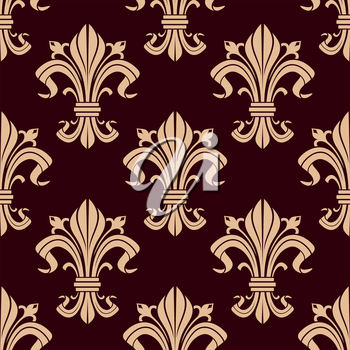Fleur-de-lis seamless pattern of victorian stylized lily flowers with beige curly leaves and fragile buds over maroon background. May be used as heraldic, historical backdrop or interior design