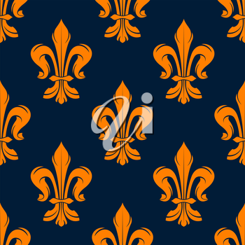 Orange and blue vintage floral seamless pattern with royal fleur-de-lis flowers. Interior, wallpaper and background design usage