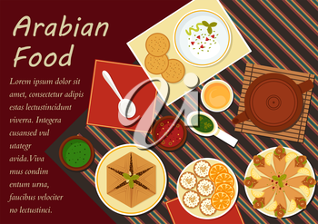 Spicy arabian food with chickpea falafels, wrapped in flatbread, pita with hummus, assortment of dipping sauces, sfiha meat pie, teapot and cakes with sliced oranges. Menu or recipe book design usage