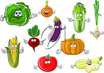 Cartoon red tomato, onion, eggplant, corn cob, cabbage, zucchini, sweet orange pumpkin, beet, green onion and chinese cabbage vegetables. Vector healthy veggies characters