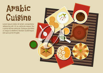 Spicy arabian and turkish food with chickpea falafels, wrapped in flatbread, pita with hummus, dipping sauces, sfiha meat pie, teapot and cakes with oranges. Restaurant menu or recipe book design
