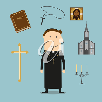 Priest profession with  mature man, surrounded by the Bible and gold cross, bowl and candelabra, icon and church or temple
