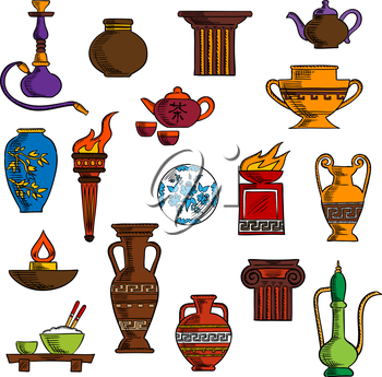 Various vases, jugs, containers and kitchenware with ancient torch and stone fire bowls, amphoras, copper and ceramic teapots, oil lamp and hookah pipe, tea services, vases, jug and plates