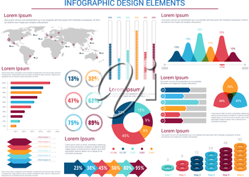 Infographics design elements with pie charts and step diagram with circles, world map with pointers and silhouettes of ships, text layouts, bar graphs and histograms. Education, presentation, business
