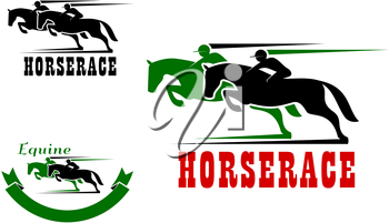 Horse race icons in green and black colors for equestrian sport design. Two racing horses with jockeys, supplemented by motion trails and ribbon banner