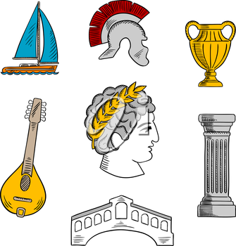 Popular tourist attractions of Italy with bust of Julius Caesar emperor, ancient roman helmet, antique column and vase, mandoline, venetian Rialto bridge and yacht. Colorful sketch icon for travel des
