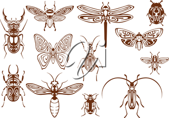 Brown tribal butterfly, bee, moth, dragonfly, wasp, ladybug, scarab and stag beetles, bumblebee, firefly and shield bugs. Decorative insects, adorned by ethnic ornaments for tattoo, embellishment or m