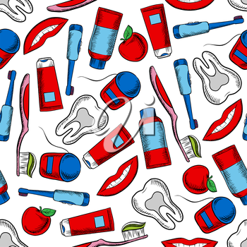 Oral hygiene and dental care colorful background with sketchy seamless pattern of healthy teeth, toothbrushes, floss boxes, toothpaste, pretty smile and red apples fruits. May be used as dentistry, he