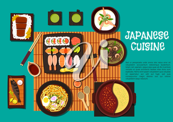Omakase sushi platter flat icon served with traditional japanese dishes such as shrimp soba noodles, rice, topped with kobe beef, marinated prawns, grilled fish on skewer, noodle soup with corn, egg a