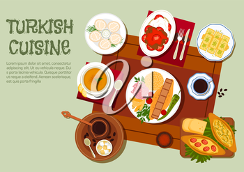 National dishes of turkish cuisine icon with traditional adana and iskender kebabs platters with vegetables, yogurt and bulgur pilaf, pide pies, lentil soup, dumplings with sour cream, turkish coffee