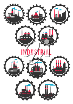 Industrial plants flat symbols framed by gear wheels with chemical, mechanical, manufacturing and petrochemical plants infrastructure elements. Heavy industry symbol, ecology and industrial tourism de