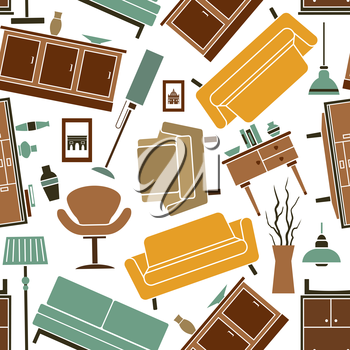 Seamless household furniture flat pattern for interior design usage with comfortable leather sofas and couches, high stools and retro armchairs, chests of drawers, lamps and interior accessories rando
