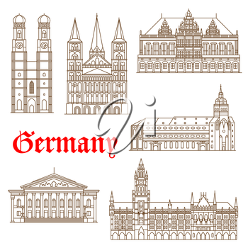 Famous german architectural travel landmarks thin line symbol with tourist attractions of Munich such as National Theatre and New Town Hall, St. Peter Church and Frauenkirche Cathedral also Bonn Cathe