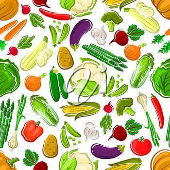 Healthy and raw farm vegetables seamless pattern. Potato and succulent carrot, tasty tomato and bitter radish, orange pumpkin and red bell pepper, pea pod and luscious cucumber, garlic and corn cob, c