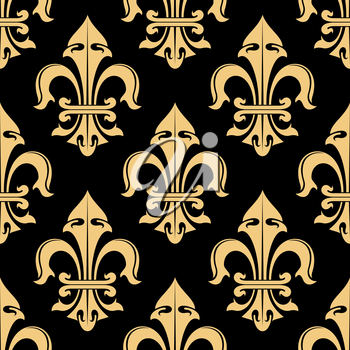 Tracery of tan cream fleur-de-lis ornamental elements seamless pattern isolated on black. For royal heraldic themes or textile, interior or design.