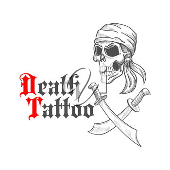 Pirate skull wearing bandana or bandanna sketch with crossed swords or sabers underneath.  Concept of death or horror tattoo that can be used for emblem, mascot.
