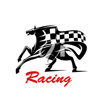 Racing icon for motorsport badge or tattoo design usage with galloping horse with flying black and white racing flag above
