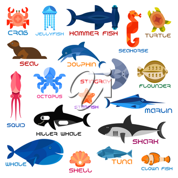 Oceanarium animals and fishes. Ocean and sea vector icons of crab, jellyfish, hammerhead fish, seahorse, turtle, seal, dolphin, squid, octopus, stingray, flounder, starfish, marlin killer whale shark