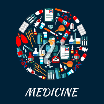 Medicine symbols infographic poster. Vector icons of health care equipment and medications drop counter, syringe, scalpel, nurse, dropper, pill, x-ray, stethoscope, ambulance, blood capsule ointment