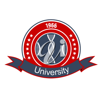 Retro round insignia with DNA helices, encircled by stars and heraldic ribbon banner with text University. Great for medical and science educational institution design usage