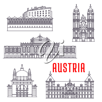 Historic architecture buildings of Austria. Vector thin line icons of Kirche am Steinhof, Ambras Castle, Melk Abbey, Eggenberg Palace, Burgtheater. Austrian showplaces symbols for souvenirs, postcards