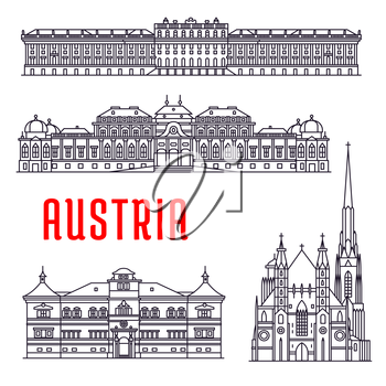 Historic architecture buildings of Austria. Vector thin line icons of Schonbrunn Palace, St. Stephen Cathedral, Belvedere, Hellbrunn Palace. Austrian showplaces symbols for souvenirs, postcards, decor