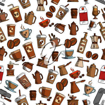 Coffee cups and coffee makers seamless background. Wallpaper with vector pattern icons of vintage coffee mill, turkish cezve, espresso machine, retro coffee grinder, moka pot, macchinetta, milk pack,