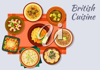 British cuisine sign with fish and fries, bacon, lettuce and tomato salad, irish vegetable stew, lamb with bread sauce, chicken cherry salad, irish fish soup, potato anchovy salad, kidney soup