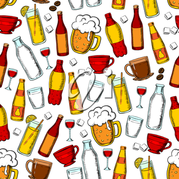 Seamless drinks and beverages pattern with beer, red wine, fruit juice, lemonade, carbonated soft drinks and milk, cups of coffee and tea with sugar cubes and coffee beans