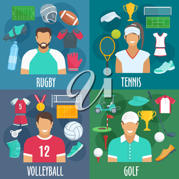 Rugby, tennis, volleyball, golf sport icons. Players equipment and sportswear outfit accessories. Vector elements of balls, t-shirts, gloves, bottles, shoes, playing field