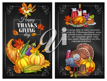 Thanksgiving Day greeting holiday banners and posters with copyspace. Traditional design of food abundance. Thanksgiving color sketch turkey symbol, cornucopia with plenty of food. Family celebration