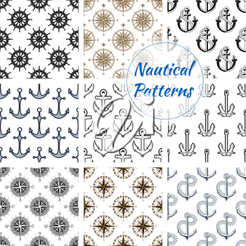 Nautical patterns set. Vector pattern of stylized navy ship anchor on rope chain, marine vessel steering wheel, navigation compass arrows. Nautical background design for greeting card, decoration, tex