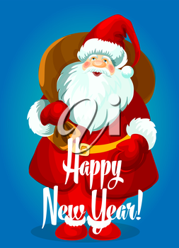 Happy New Year greeting card. Santa Claus with big gifts bag, standing and smiling in winter boots, mittens, red hat. Vector holiday poster