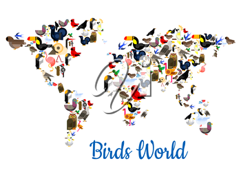 Birds world poster in shape of world map with continents. Vector flamingo, peacock, sparrow, pigeon, owl, swallow, ostrich, colibri, swan, swallow, parrot, eagle, woodpecker, pigeon, falcon, dove, tou