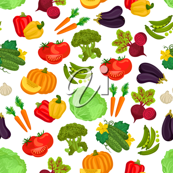 Vegetables pattern of fresh ripe farm vegetable flat icons of pumpkin, cucumber, beet, tomatoes, carrot, peas, pepper, cabbage, eggplant, garlic, broccoli. Vector seamless pattern background of vegeta