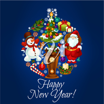 New Year holiday vector poster. Greeting card with bauble shape of santa and snowman, wooden clock with chimes, christmas tree and gifts, wreath of holly leaves and pine tree branches