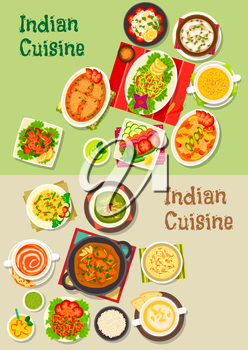 Indian cuisine icon with turkey curry, pilau, vegetable, meat and fish salad, soup with seafood, tomato and pea, chicken and salmon stew, fried shrimp and perch, rice dessert, mango yogurt drink
