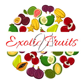 Exotic fruit circle poster. Tropical papaya, feijoa, carambola, passion fruit, lychee, dragon fruit, fig and durian. Food and drink label, tropical dessert and cocktail menu design