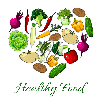 Veggies and vegetables heart poster. Vegetarian greens food of zucchini squash and patisony, daikon radish and beet, cucumber, tomato, bell and chili pepper, potato, kohlrabi cabbage and broccoli. Vec