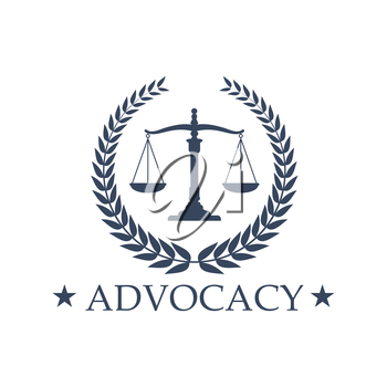 Advocacy emblem and symbol Scales of Justice for juridical or notary company. Sign or badge for law attorney, legal advocate or lawyer office. Vector isolated icon of heraldic laurel wreath and stars