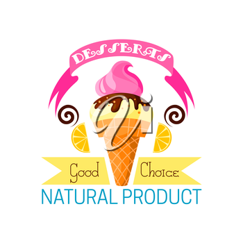 Chocolate ice cream with lemon dessert icon. Cold vanilla food with chocolate and syrup in waffle cone with ribbon and natural product. Fast food and unhealthy nutrition, milk calorie theme