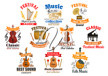 Instruments for music and melody notes with ribbon set of icons. Drum kit and acoustic, electric guitar, gramophone and harp, fiddle with fiddlestick and violoncello or cello, violin with bow, piano a
