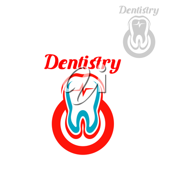 Dentistry emblem with vector symbols of white tooth with red circle and heart pulse. Isolated icon for dentist, stomatology clinic or dental surgeon. Sign of healthy tooth and gum for tooth paste or h