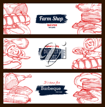 Meat and sausage delicatessen sketch. Pork bacon and ham jamon, beef or veal meat barbecue, pepperoni or salami kielbasa, wurst sausages and fresh lard, smoked chicken leg and ribs. Vector banners set
