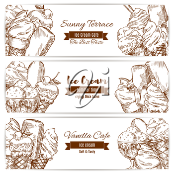 Ice cream sketch of sweet fruity ice cream desserts soft ice cream in wafer cone, glazed eskimo with whipped cream and fruit ice, chocolate sundae and fresh vanilla scoops in glass bowl. Vector horizo