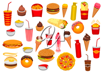 Fast Food snacks icons of cheeseburger burger and pizza, french fries and hot dog sandwich hamburger, gyros burrito or doner kebab, chicken nuggets, ice cream and donut, soda or coffee. Fastfood and s