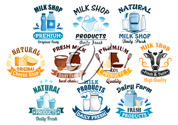 Dairy products icons for milk shop of vector milky food and drinks milk bottle and butter, sour cream and curd, cow head and yogurt or kefir in pitcher, cottage cheese and fresh cream in bowl for milk