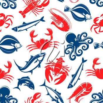Seafood vector seamless pattern of fish and sea food lobster or crab, shrimp and flounder, tuna and salmon or trout, squid or crayfish, herring and octopus. Tile design for restaurant or fish food cui
