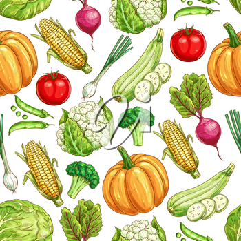 Vegetable and bean seamless pattern background. Ripe tomato, green onion, broccoli, beet, cabbage, corn, pea, zucchini, pumpkin and cauliflower sketches for healthy food background design